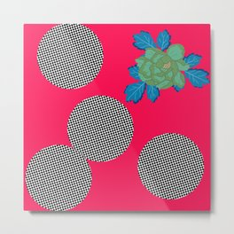 Polka Dots with Green Flower in Pink Metal Print