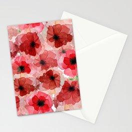 Pressed Poppy Blossom Pattern Stationery Cards