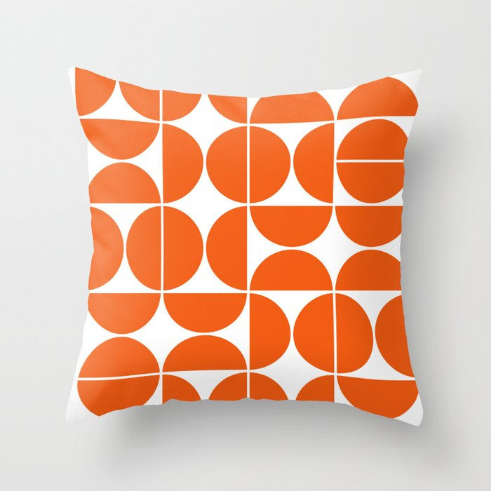 Mid Century Modern Geometric 04 Orange Throw Pillow by ...