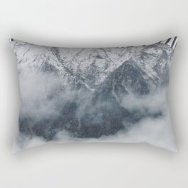 The Mountains are Calling and I Must Go-John Muir Quote and Landscape Typography Rectangular Pillow