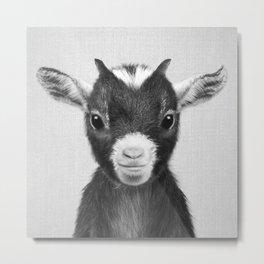 Baby Goat - Black & White Metal Print
