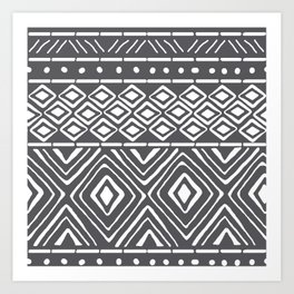 African Mud Cloth // Charcoal Art Print
