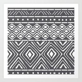 African Mud Cloth // Charcoal Art Print