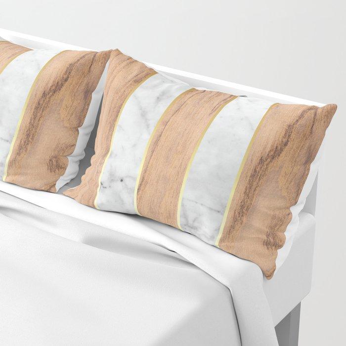 Wood Grain Stripes - White Marble #497 Pillow Sham
