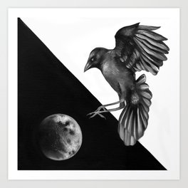 Crow and the Moon 2 Art Print