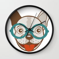 frenchie Wall Clocks featuring Frenchie by olillia
