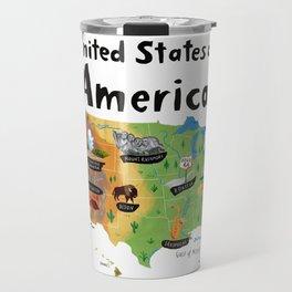 Map of USA Travel Mug