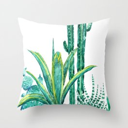 cactus jungle watercolor painting 2 Throw Pillow