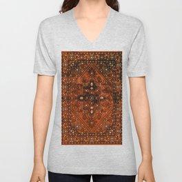 N151 - Orange Oriental Vintage Traditional Moroccan Style Artwork Unisex V-Neck