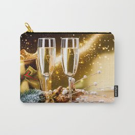 glasses of champagne 4k gift boxes Happy New Year bright lights xmas decorations champagne Merry Chr Carry-All Pouch