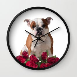 Boxer Dog With Red Flowers Wall Clock