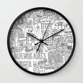 Buenos Aires Burger Map Wall Clock
