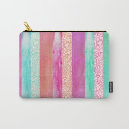 Tropical Stripes - Pink, Aqua And Peach Colorway Carry-All Pouch