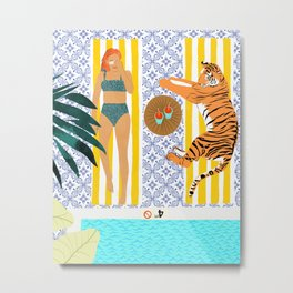 How To Vacay With Your Tiger #illustration Metal Print