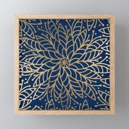 Modern chic navy blue faux gold floral mandala Framed Mini Art Print