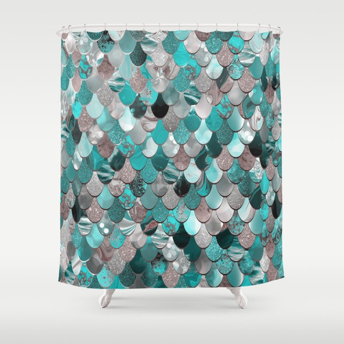Mermaid Sea Reflections Teal Grey Shower Curtain