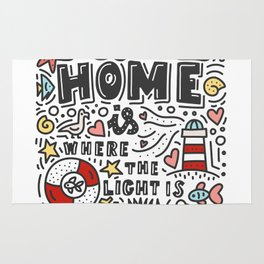 Home is where the light is. Doodles and lettering Rug