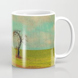 Lonesome Tree in Lime and Orange Field and Aqua and White Sky Coffee Mug