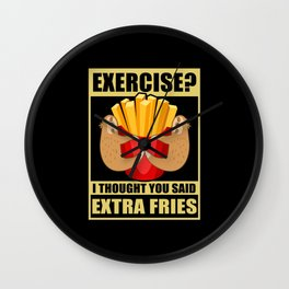 Exercise Sloth French Fries Sport Wall Clock