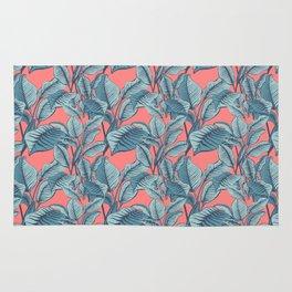 Pink Exotic Tropical Banana Palm Leaf Print Rug