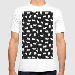 White cats on black T-shirt