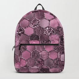 Pink & purple geometric hexagonal elegant & luxury pattern Backpack