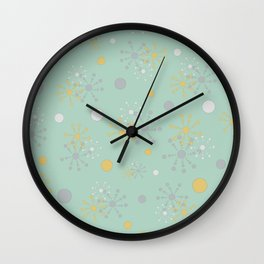 Grey Yellow Geometric Circles Green Bkgrd Wall Clock