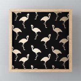 Flamingo Pattern Gold + Black Framed Mini Art Print