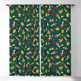 fly agaric and autumn leaves Blackout Curtain