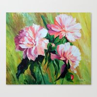 peonies Canvas Prints featuring Peonies by OLHADARCHUK