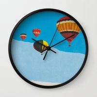 hot air balloons Wall Clocks featuring Four Hot Air Balloons by Shelley Chandelier