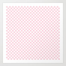 Light Soft Pastel Pink and White Checkerboard Art Print