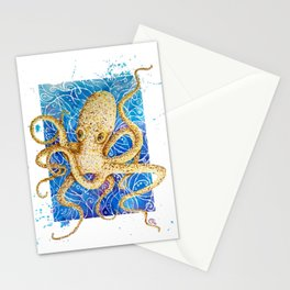 La pieuvre - Contemporary Watercolor Octopus Painting Stationery Cards