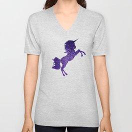 Purple Sparkly Unicorn Unisex V-Neck