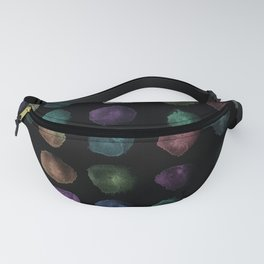 Watercolor, watercolour texture, abstract paint stains beautiful black background Fanny Pack