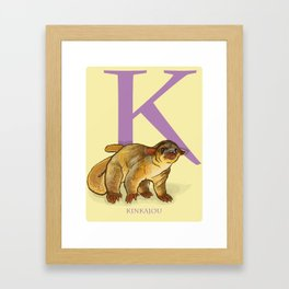 K is for Kinkajou: Under Appreciated Animals™ ABC nursery decor golden yellow unusual animals Framed Art Print