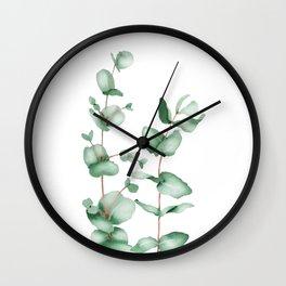 Watercolor Eucalyptus Wall Clock