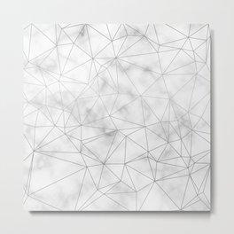 Marble Silver Geometric Texture Metal Print