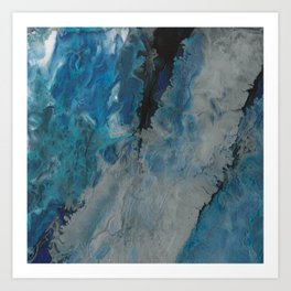 Silver Scape, abstract poured acrylic Art Print