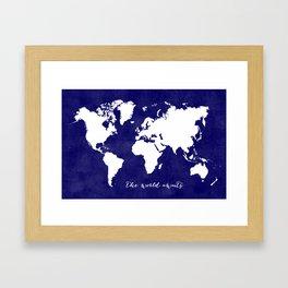 The world awaits in navy blue Framed Art Print