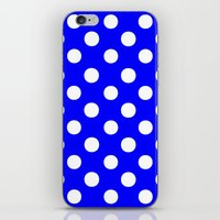 polka dots iPhone & iPod Skins featuring Polka Dots (White/Blue) by 10813 Apparel