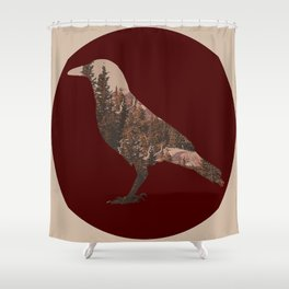 crow in the woods Shower Curtain