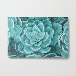 Succulent Mosaic pattern Flowers turquoise Metal Print