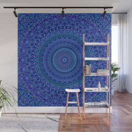 Blue Floral Ornate Mandala Wall Mural