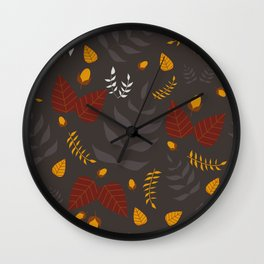 Autumn leaves and acorns - brown and ochre Wall Clock