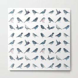 Sparrow Pattern Metal Print