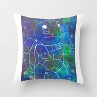 squirtle Throw Pillows featuring Squirtle by pkarnold + The Cult Print Shop