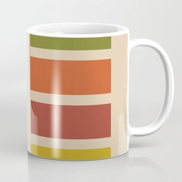 Nelson Blocks - Midcentury Modern Geometric in Mid Century Mod Mustard, Olive, Teal, Orange, Beige Coffee Mug