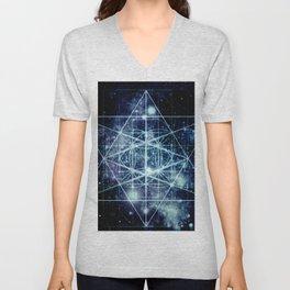 Galaxy Sacred Geometry Flower of Life Ocean Blue Unisex V-Neck