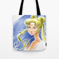 sailormoon Tote Bags featuring Princess Serenity by Keith Gutierrez